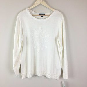 Karen Scott White Scoop Neck Sweater